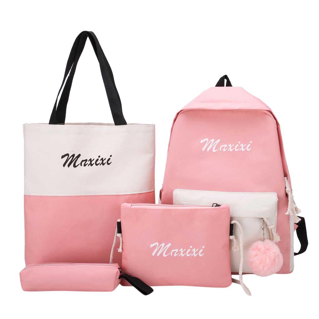 4Pcs Women Letter Canvas Hand Bag Shoulder Bag Crossbody Bag Pencil Case Package for Students Teens Girls Boys kids