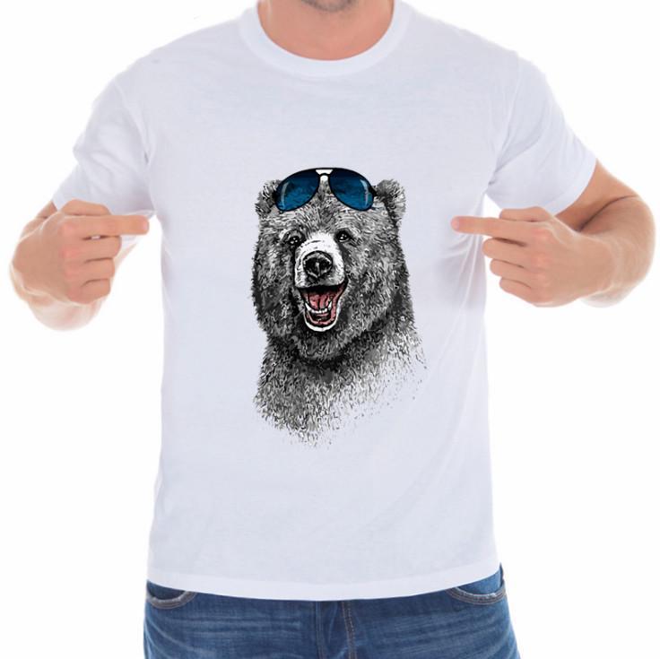 速卖通wish亚马逊ebay快乐的熊复古印花T恤男白色上衣短袖休闲t恤