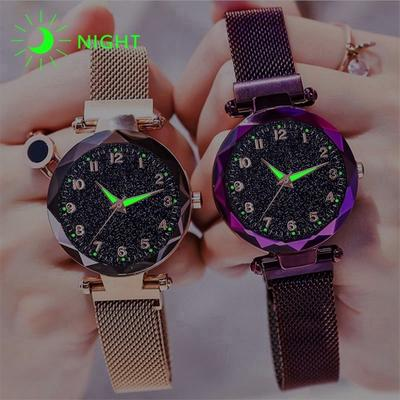 Women Magnet Buckle Starry Sky Luminous Watch Luxury Ladies Stainless Steel Quartz Watch
