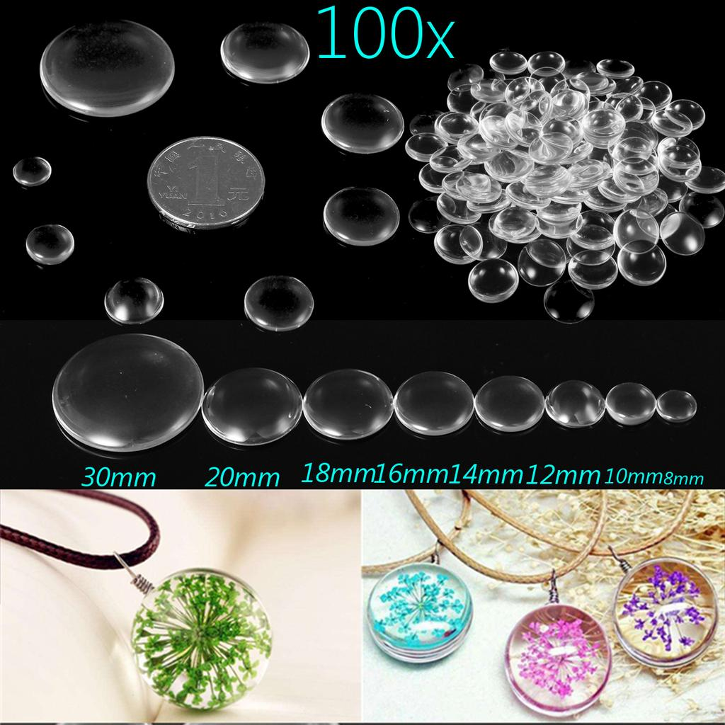 6-35mm Round Flat Back Clear Transparent Glass Cabochon for DIY Jewelry Making