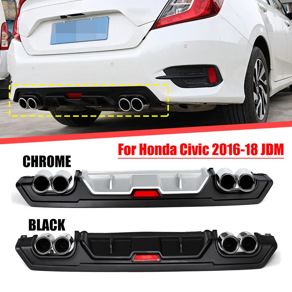 Turbo Rear Lower Bumper Diffuser W Dual Exhaust Tip For Honda Civic 16 18 Jdm Buy At A Low Prices On Joom E Commerce Platform