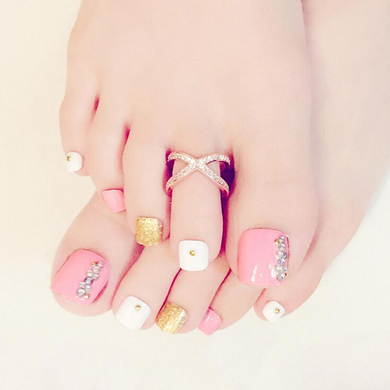 24Pcs Pink 3D False Toe Nails French Nail Art Tips Acrylic Fake