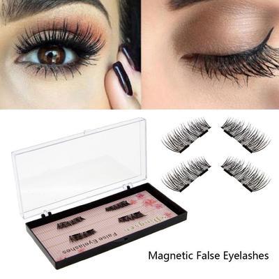 0b02bd842f9 4pcs Women Reusable 3D Double Magnetic False Eyelashes Long Natural Eye  Lashes Extension Cosmetics