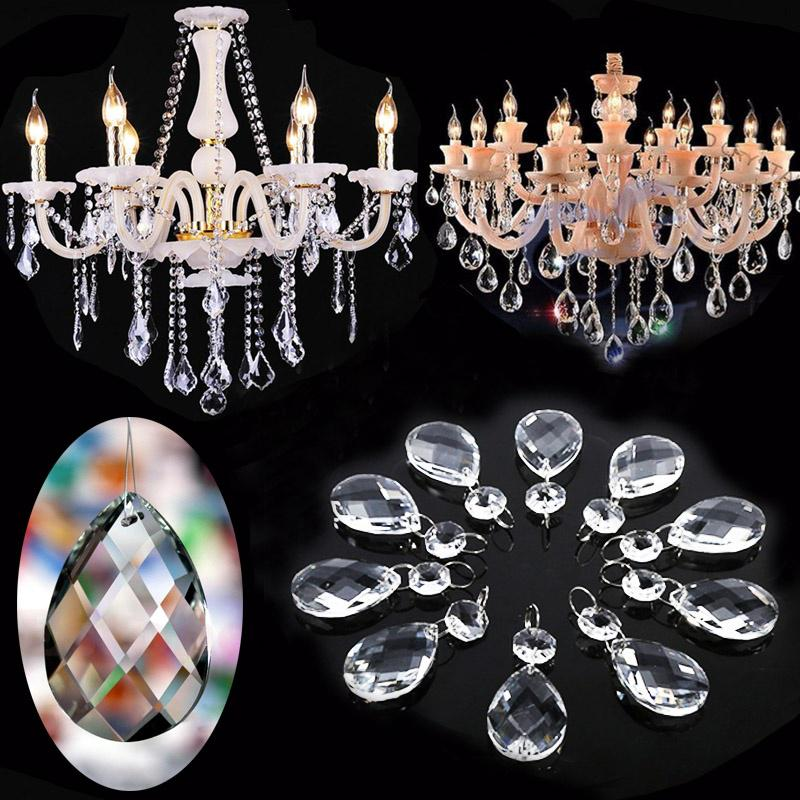 10x//lot Clear Drop Crystal Glass Beads Chandelier Ornament Christmas Gift Making