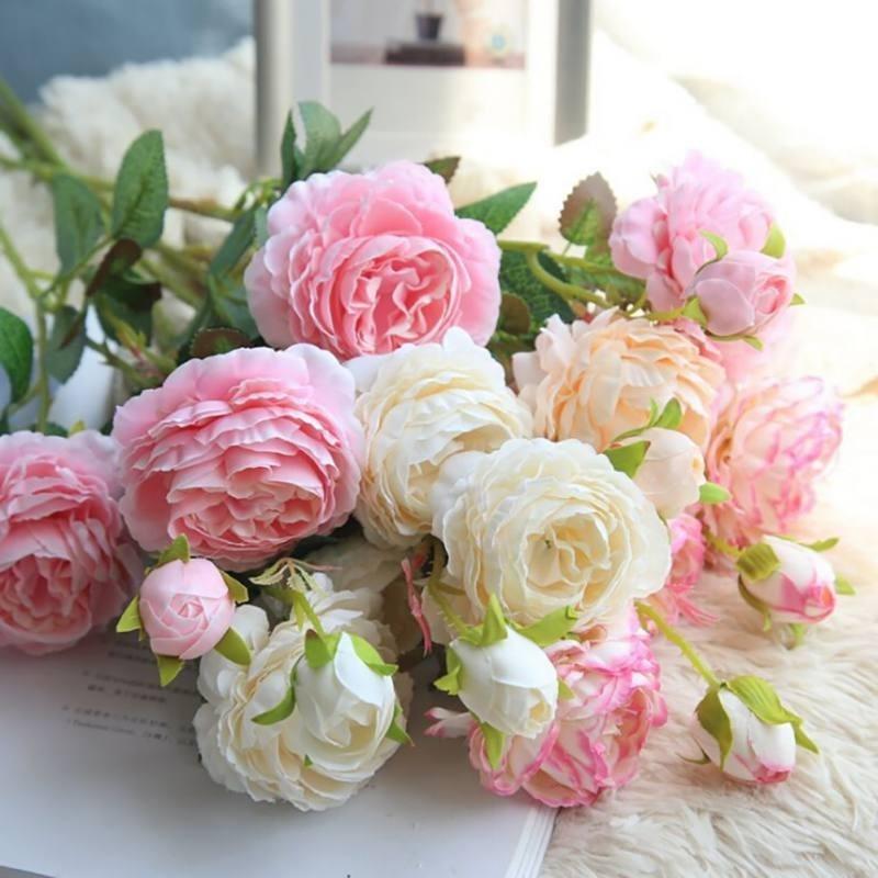 Искусственные цветы 3 западных розы европейская пион искусственные цветы дома украшения фото