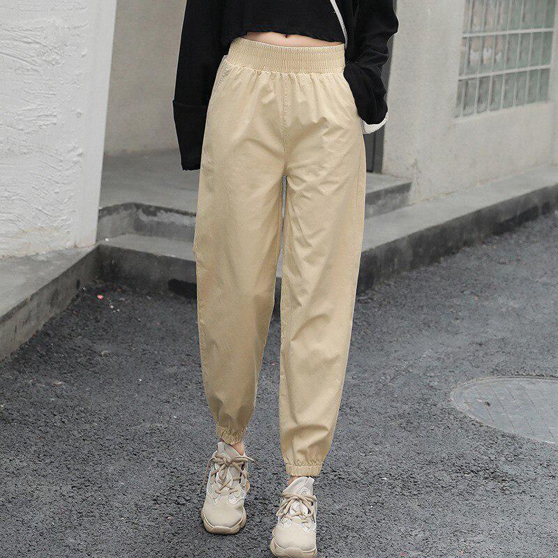 Mujeres Solid cargo pantalones elásticos cintura alta ...