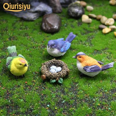Tree Sculpture Bird Nest Design Resin Table Top Statue