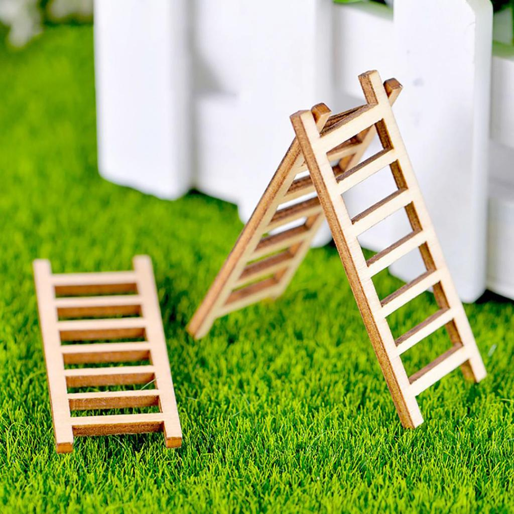3Pcs Wooden Ladder Doll House Art Projects DIY Crafts Embellishments