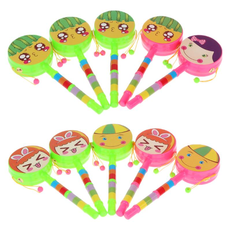 Baby & Toddler Toys 1pc Smile Baby Shaking Rattle Drum Toy Percussion Educational Musical Instrument Toys Gift For Children