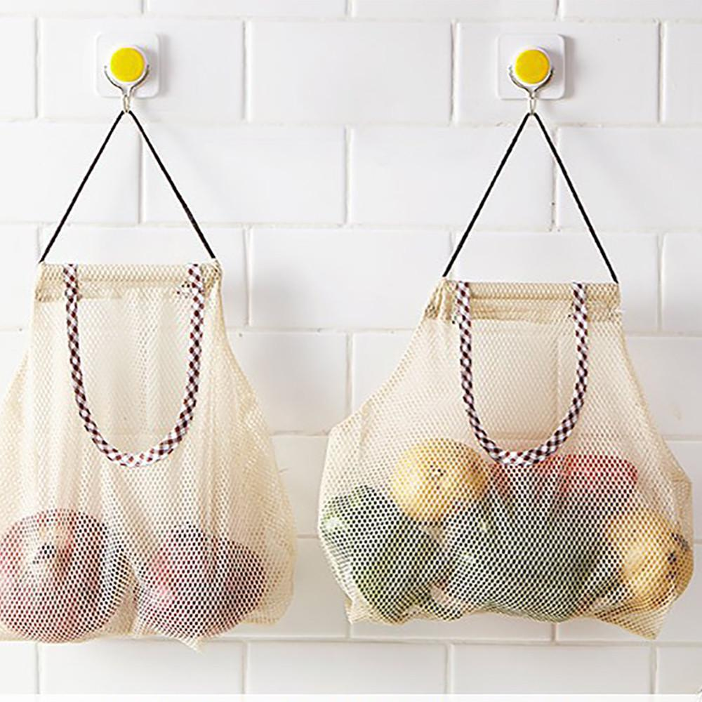 Trash Bags Holders Storage Bag Mesh Wall Hanging Vegetables Packing Pouch
