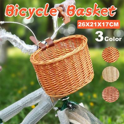 Cycling Wicker Bicycle Bike Basket Deluxe Square Shape Wood Color 10