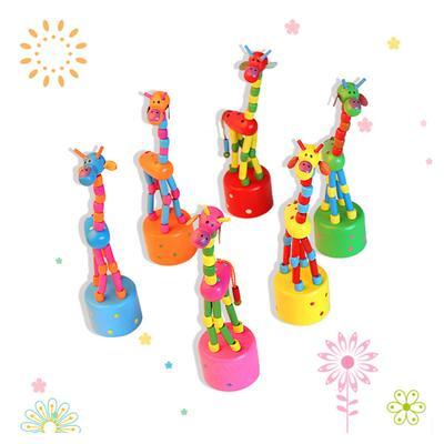 Wooden Giraffe Cartoon Rocking Wooden Toys Development Dancing Spring Educational Gifts