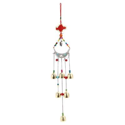 lucky elephant wind chimes copper 6 bells outdoor living yard garden decor - Christmas Elephant Outdoor Decoration