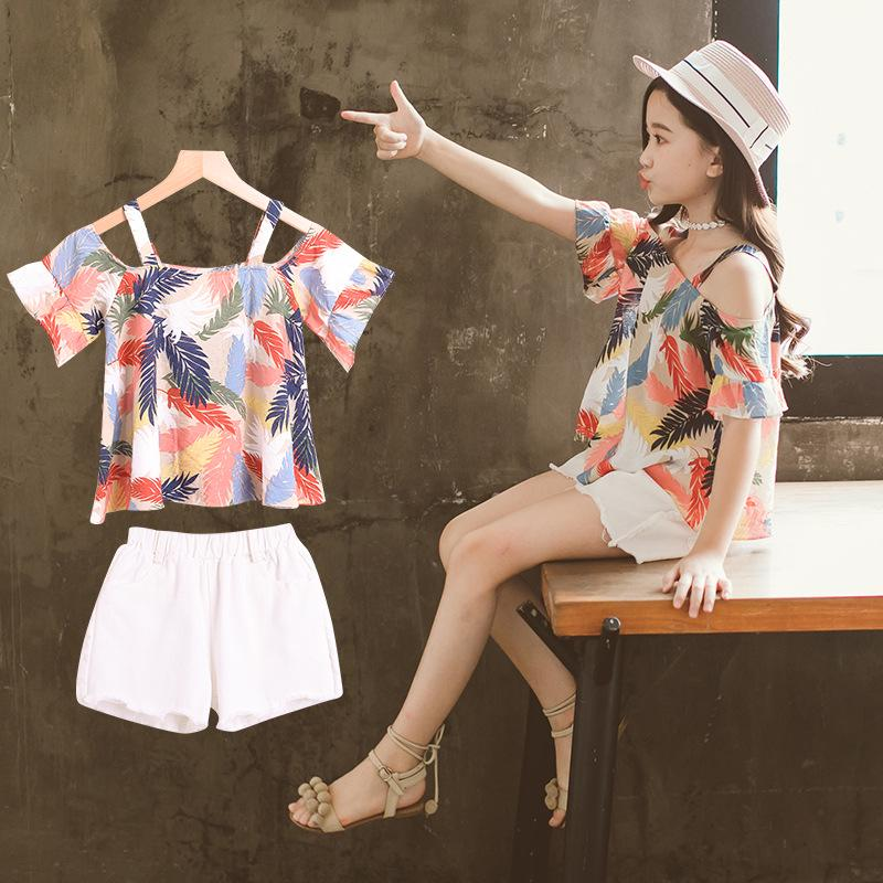 Children Girls Clothes Set Summer Kids T-shirt+Short Pant 2pcs Baby Girls Suit