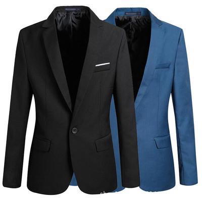 0e90e468ba5 Men s Korean Slim Casual Solid Color Long Sleeve Small Suit Tide Jacket