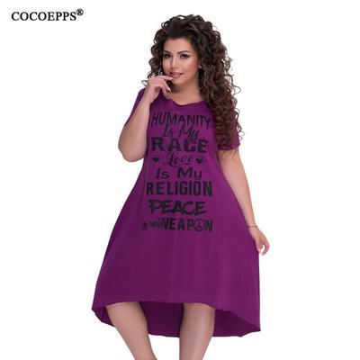 a2e7c6592f3 Платья плюс размер женщин одежда письмо печати больших летних платье  сыпучих случайный большой размеры 5xL 6xl