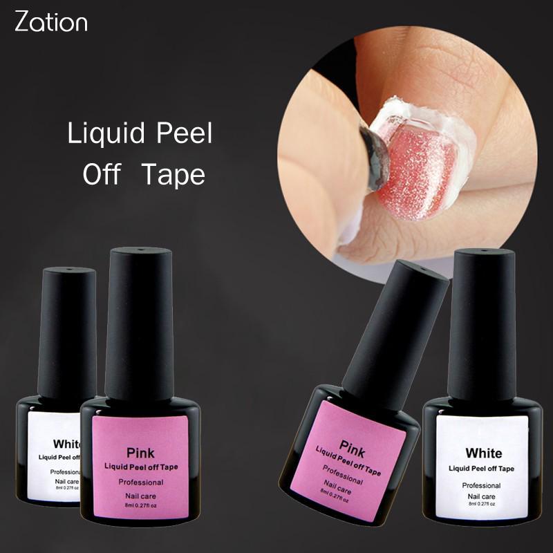 Белый / Розовый латекс защитить легкий очистки крем для ногтей польский пила с жидкой лентой
