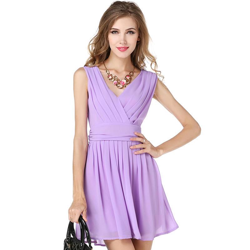 Dama de la moda de verano sin mangas vestido de Gasa púrpura Vestido ...
