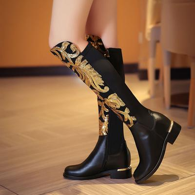 766cc642b Size 34-42 Women Natural Leather Thick Heel Long Boots Embroidery Flower  Classics Brand Winter