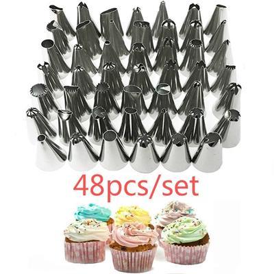 48Pcs Cake Decorating Nozzles Tips Set Pastry Cupcake Sugarcraft Icing Piping