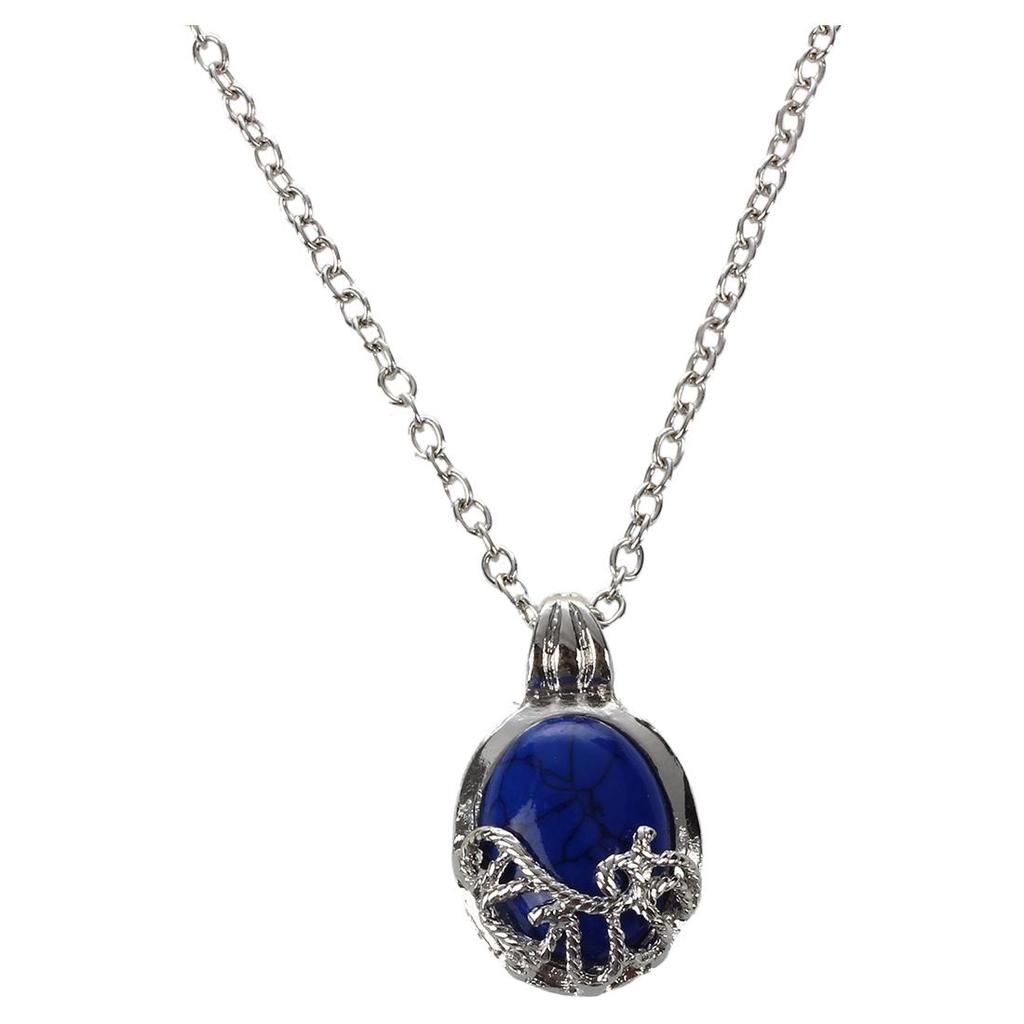 The Vampire Diaries Blue Stone Elegant Locket Pendant Necklace Gift