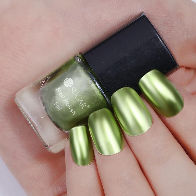Esmalte de uñas metálicas sexy espejo Champagne oro rosa brillo ...