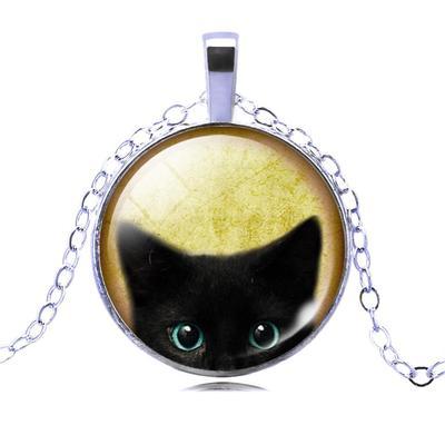 Yin Yang Cat Photo Cabochon Glass Silver//Black//Bronze Chain Pendant Necklace#