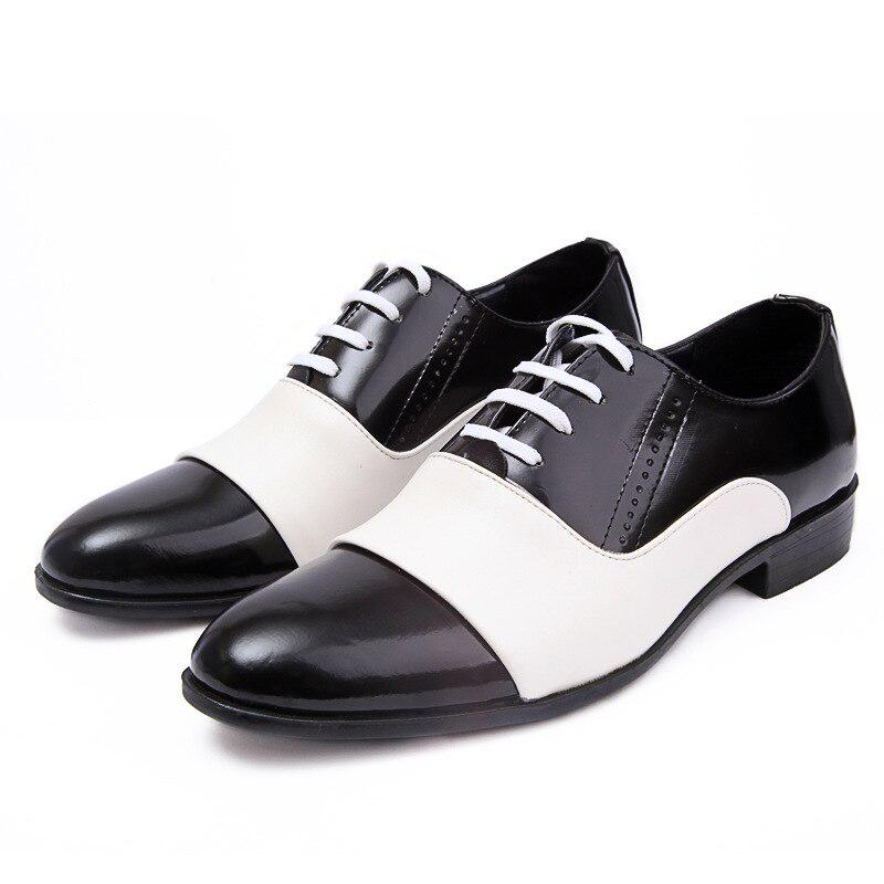 Men Dress Formal Shoes Lace Up Pointy Toe Patent Leather Low Heel Wedding Party