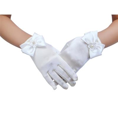 GIRLS-WHITE SATIN-GIRLS SHORT WRIST GLOVES-DIAMANTE RHINESTONE-FLOWER GIRL