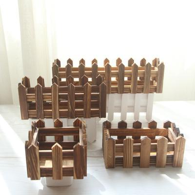 Brown Fence Wood Flower Cute Vase Pots Planter Simulation Home
