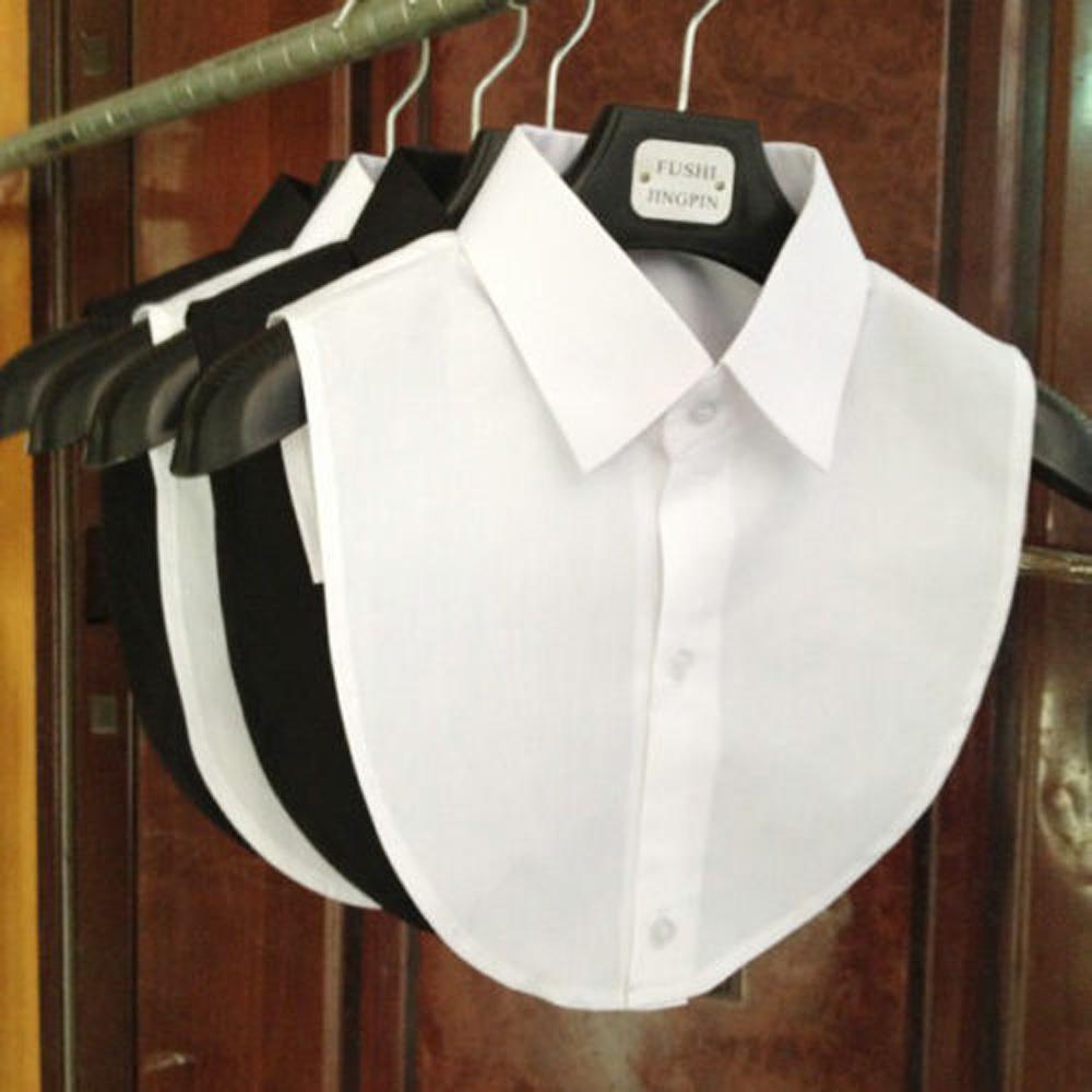 Женщины Твердый цвет Рубашка Хлопок Кружева воротники белый и черный блузки Винтаж Съемная одежда Рубашка фото