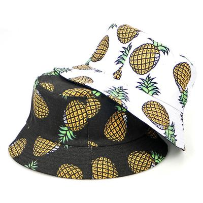 Ygoner Flat Top Breathable Bucket Hats Pineapple Watercolor Colors 1 Unisex Funny Bucket Hat Summer Fishermans Hat