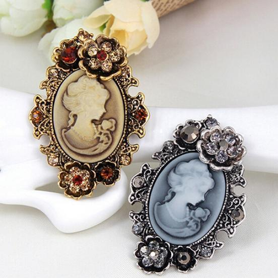 Women s Vintage Inlaid Rhinestone Flower Beauty Relief Cameo Antique ... 21aa8629a116