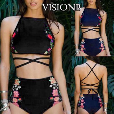 2pcs donna vita alta Bikini Floreale Set Off spalla Ruffle Imbottito Costume Da Bagno