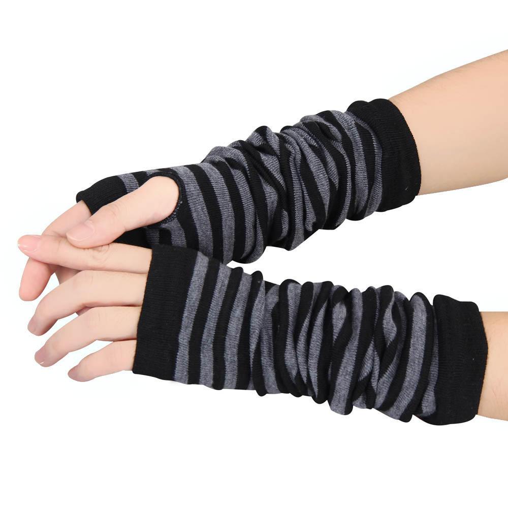 DRAGONHOO Winter Womens Arm Warmers Knit Thumbhole Long Fingerless Gloves Mitten