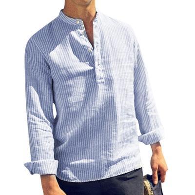 Fseason-Men Long Sleeve Simple Baggy Blouse Shirt Original Fit Tops