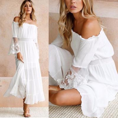 Women White Beach Dress Strapless Long Sleeve Loose Sexy Off Shoulder Lace  Boho Cotton Maxi Dress c1090dbd5