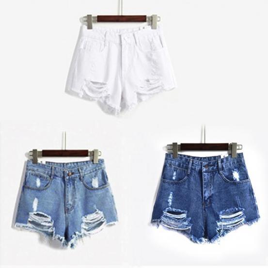 db768aeda432 Pantalones vaqueros cortos cintura alta de mujer agujero rasgado lavado con  agua pantalones cortos de mezclilla azul