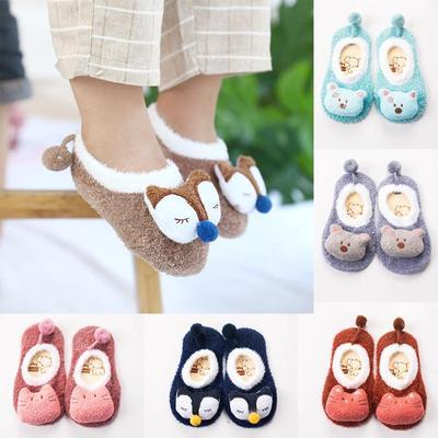 1 Pair Thick Cartoon Slipper Kids Toddler Anti Slip Shoes Floor Socks Boots Cute Newborn Baby Warm