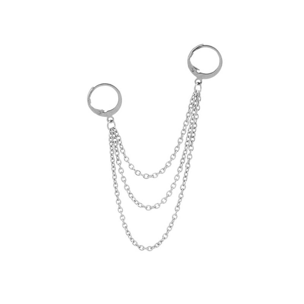 Korea Jewelry KPOP Hip Hop Punk Titanium Steel Tassel Chain Drop Earring Kits