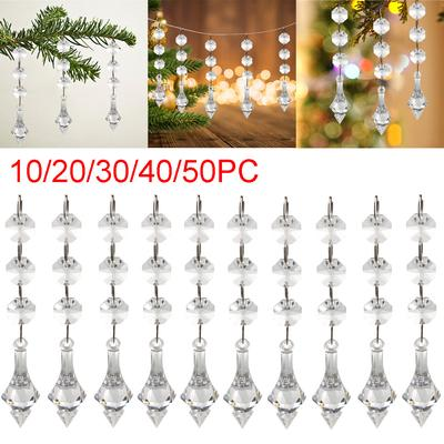 50Pc Acrylic Crystal Clear Bead Garland Hanging Chandelier Wedding Decor Supplie