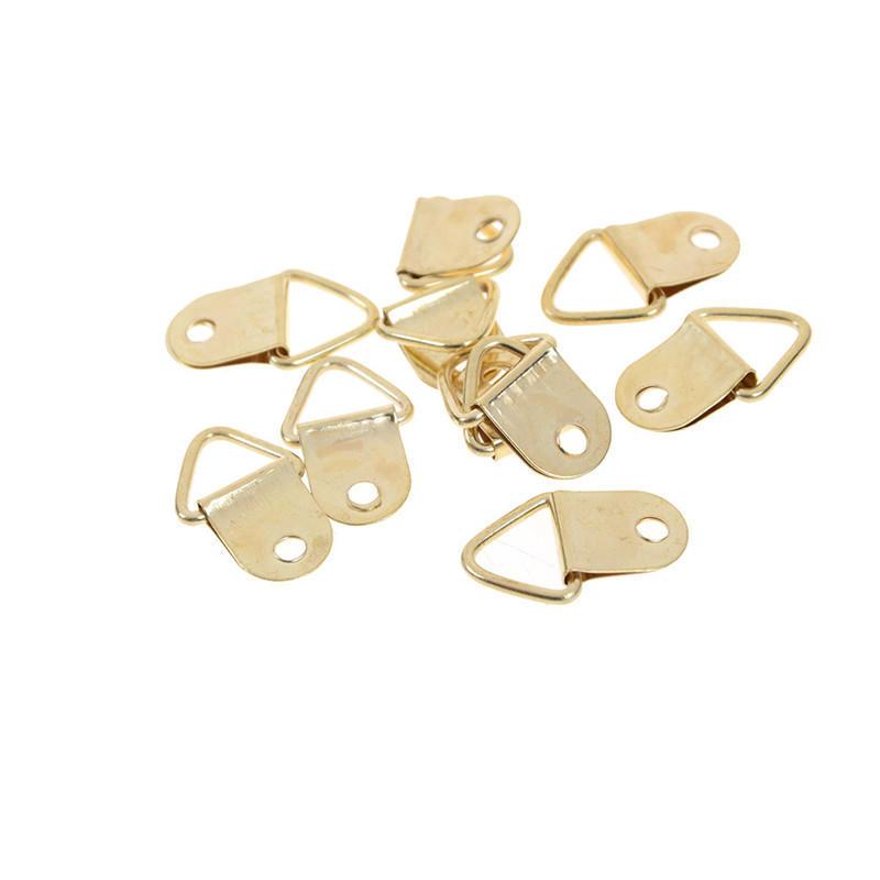 20Pcs D Ring Golden Brass Triangle Photo Picture Frame Wall Mount Hook Hanger ZT