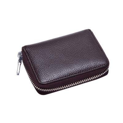 1Pc Credit Card Case Organizer Genuine Leather Zip Security Card Bag Holder Gift