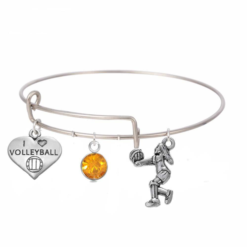 df628d09861d Brazalete de alambre amo voleibol encanto del corazón series deportivas  acero inoxidable ajustable inicial