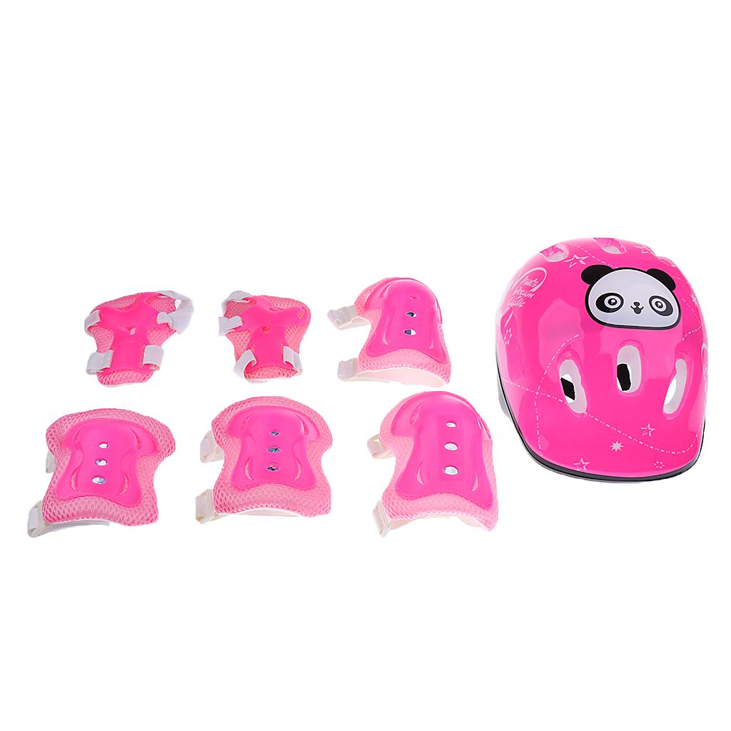 Cones Blue 7Pcs Kids Roller Skating Bike Helmet Knee Elbow Wrist Pad Sport
