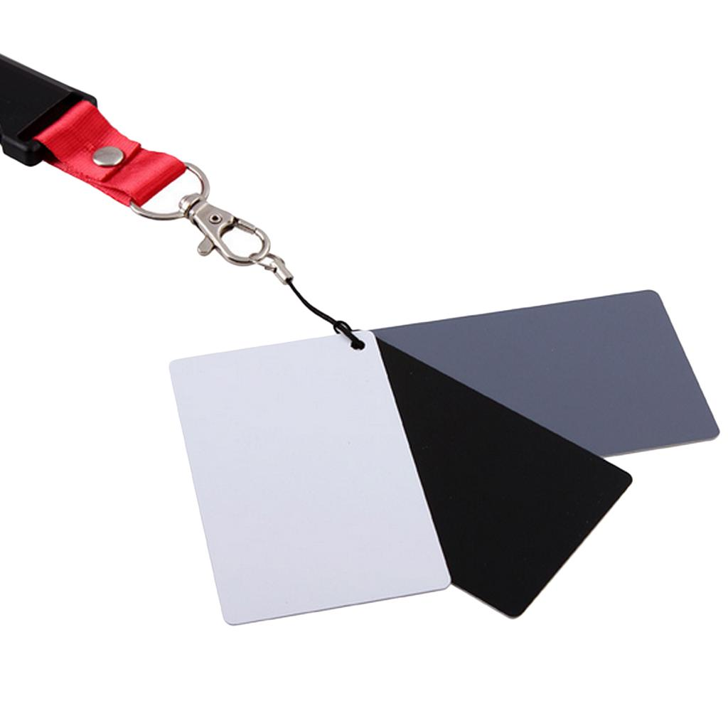 Color: Blanco C/ámara Digital de Bolsillo 3 en 1 18/% Blanco Negro Gris Tarjetas de Equilibrio con Correa para el Cuello para fotograf/ía Digital
