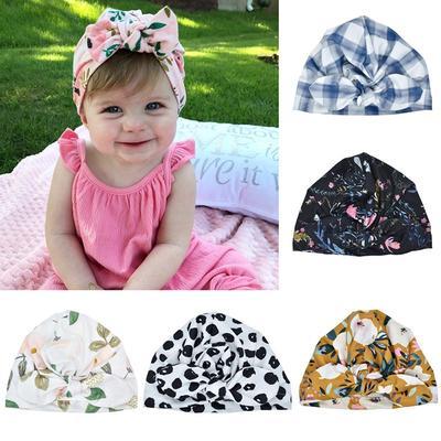 Baby Infant Hat Floral Print Turban Cap Newborn Head Wrap Beanie Knot Headband