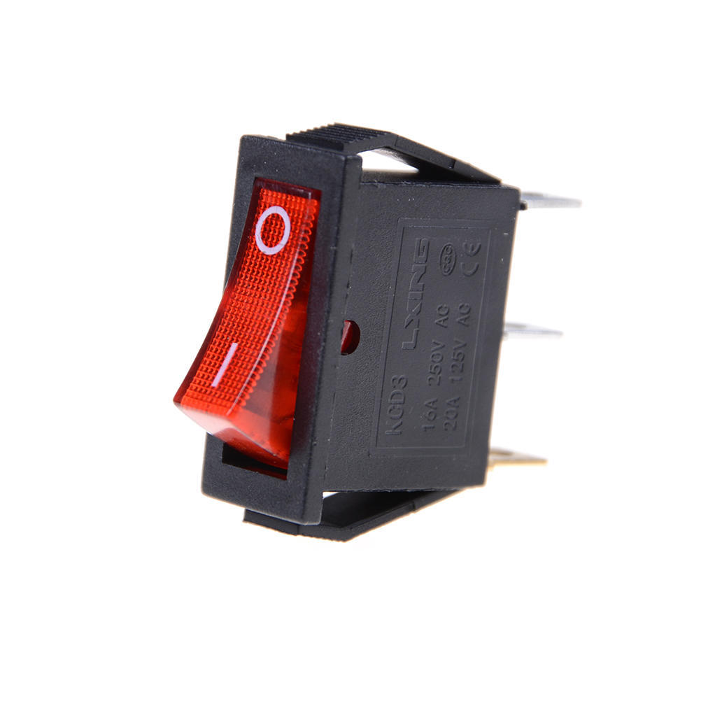 Color: Green 5PCS//lot On-Off 3pin Rocker switch With light 6A 250VAC