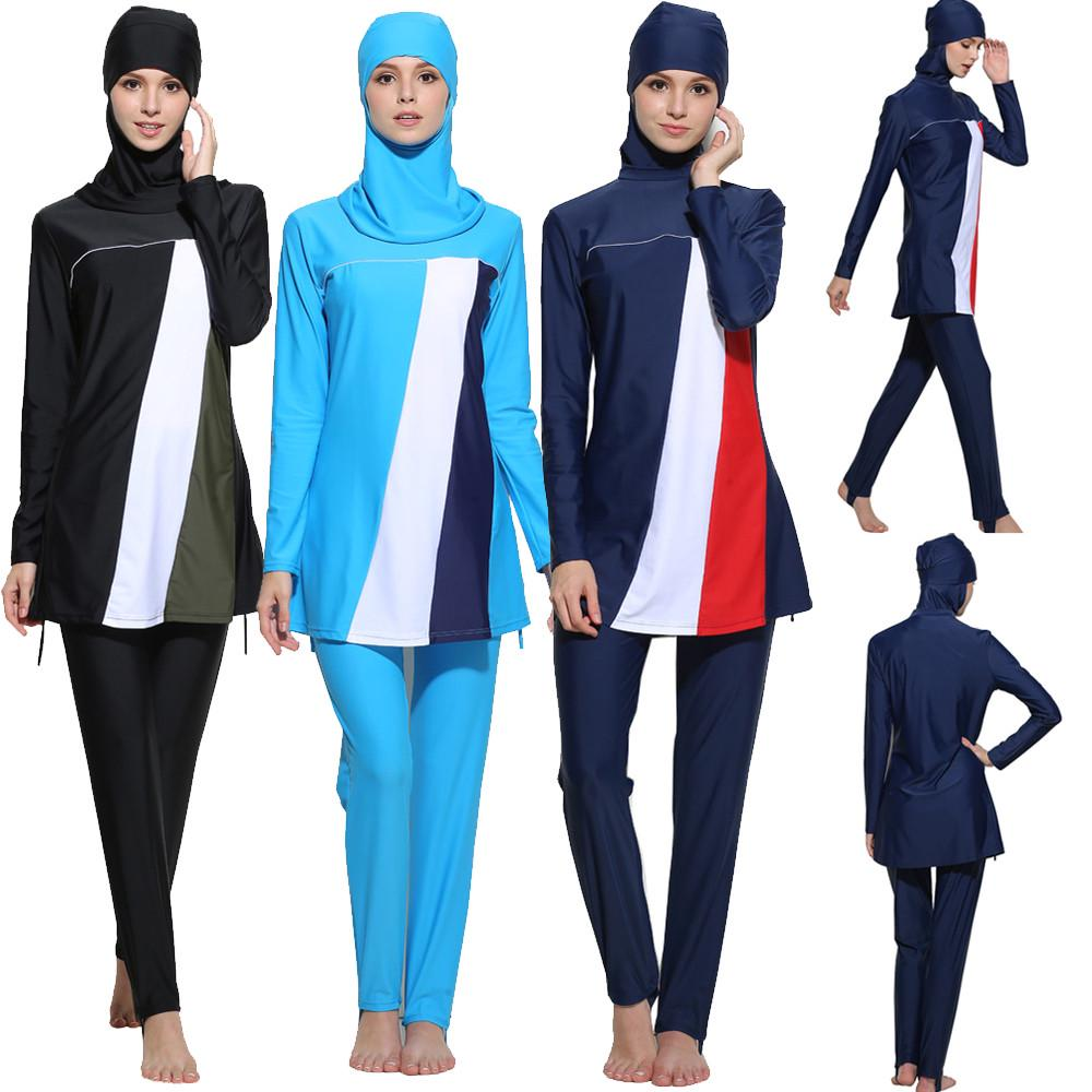 1f0935ea9f Muslim Women Modest Swimwear Islamic Short Sleeve Top+Pants -buy at ...