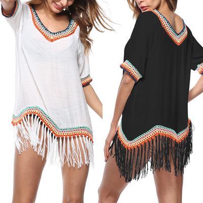 Women V Neck Bikini Cover Beachwear Swimwear Blouse Tassel Tops Loose Fashion Vintage One Size